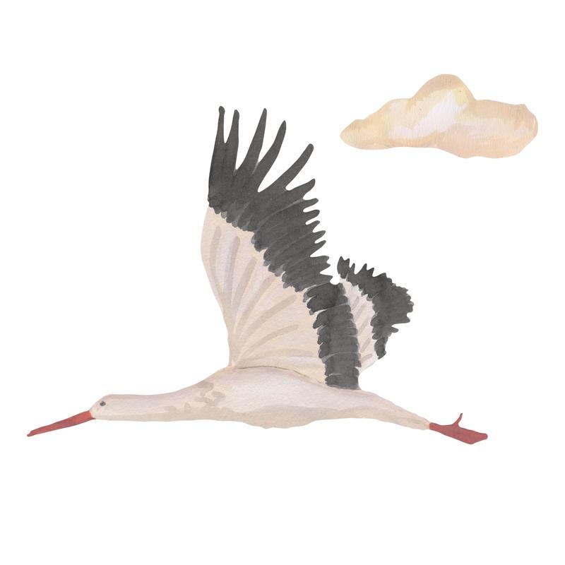 Stoff-Wandsticker 'Kleiner Storch' weiß