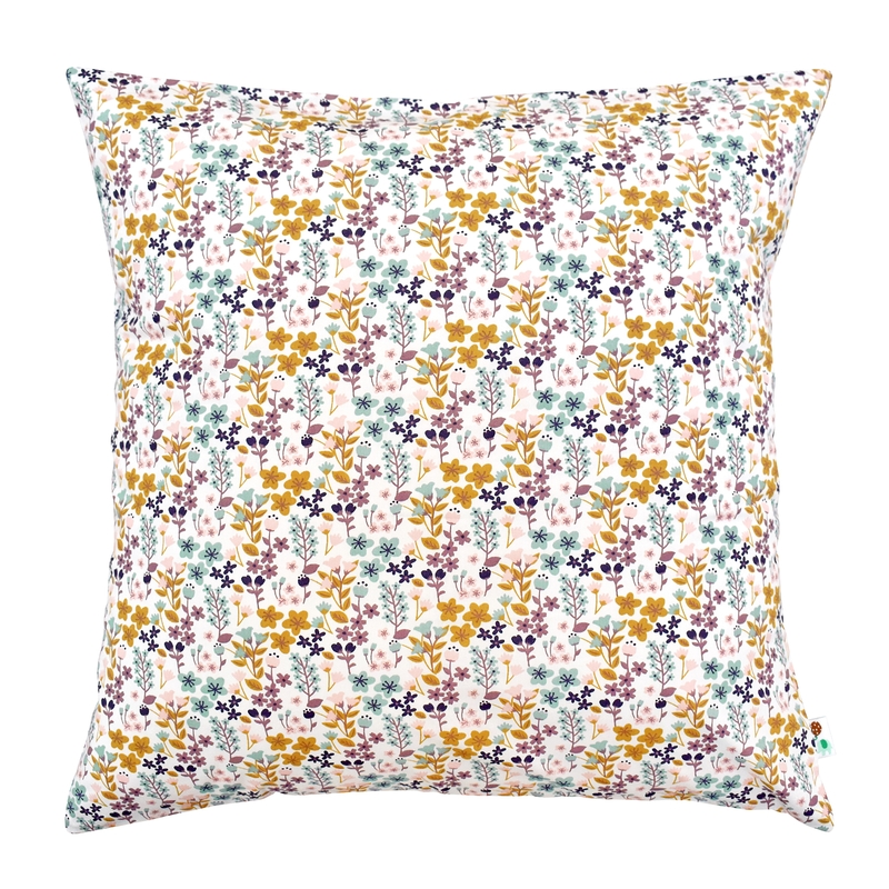 Kissenbezug 'Blumen' rosa/senf 50x50cm