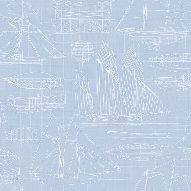 Vliestapete 'Segelschiffe' hellblau