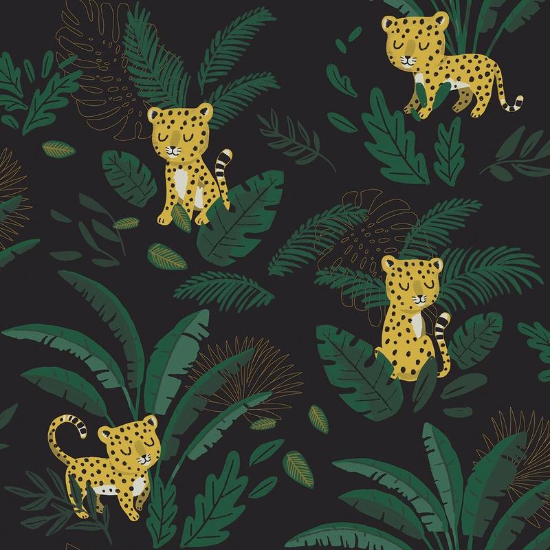 Vliestapete 'Jungle Leoparden' dunkelgrün