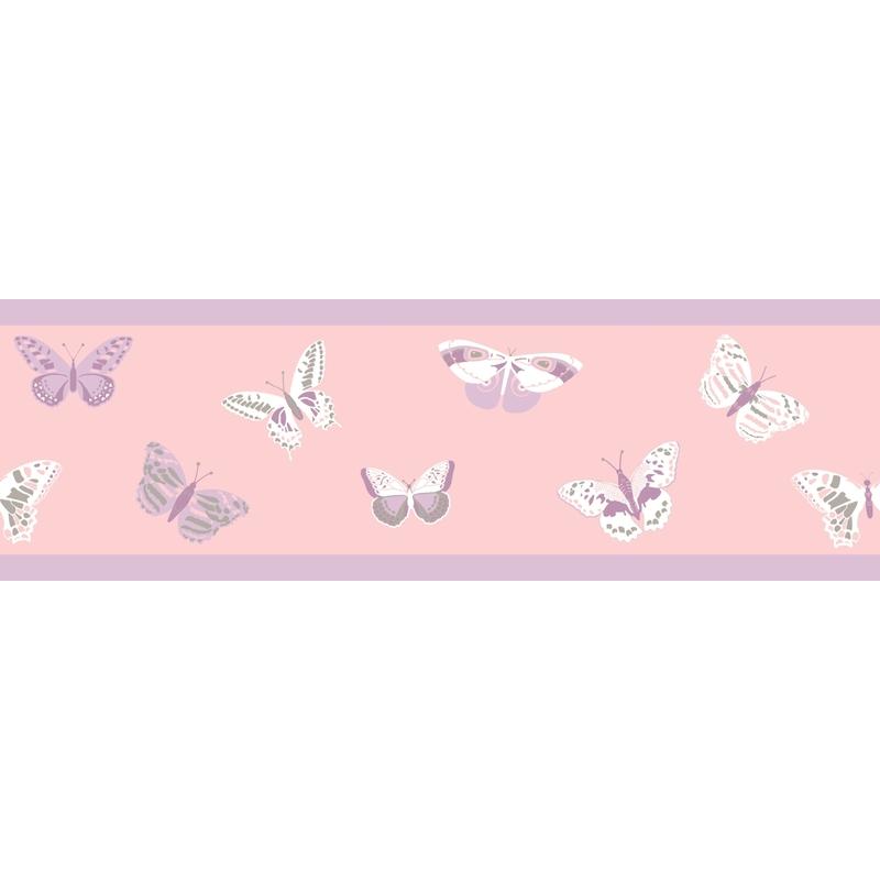 Bordüre 'Schmetterlinge' rosa/flieder