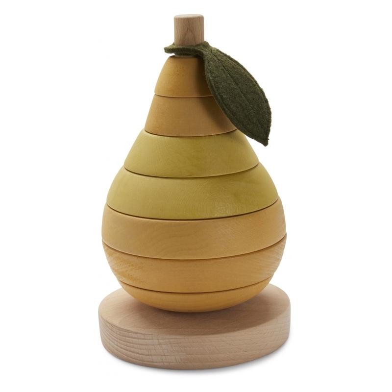Stapelturm 'Birne' Holz natur/gelb ab 1 Jahr