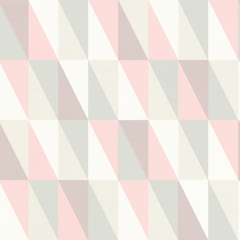 Vliestapete 'Dreiecke' rosa/mint