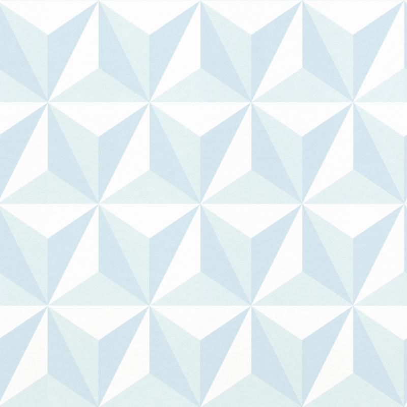 Vliestapete 'Dreiecke 3D Optik' hellblau