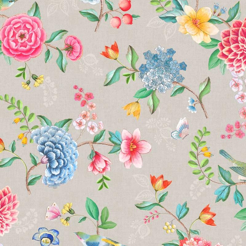 Vinyltapete 'Blumen' warmgrau/blau/rosa