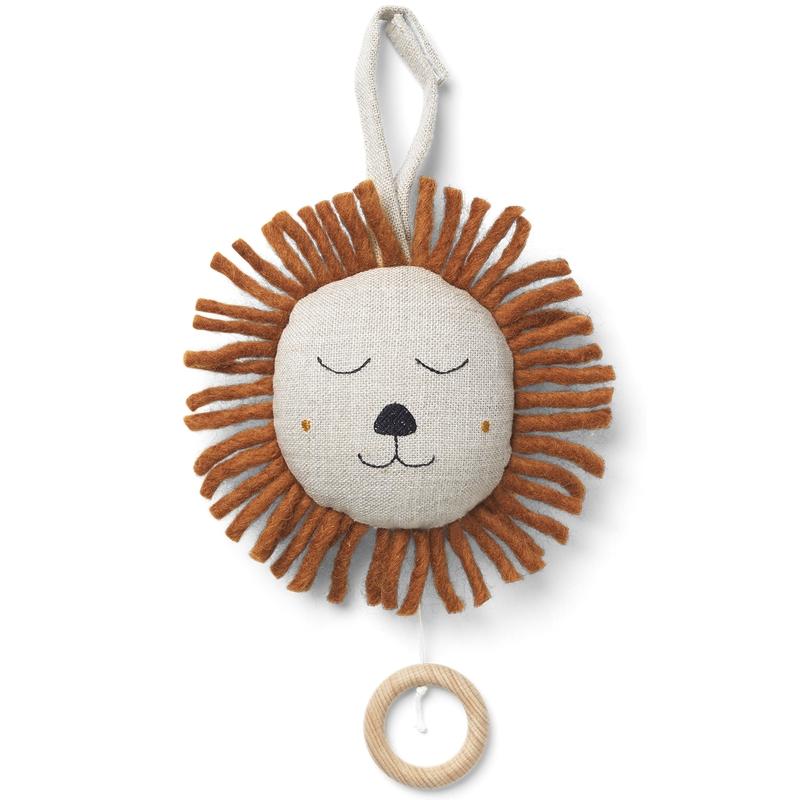 Spieluhr aus Leinen 'Löwe' beige/cognac