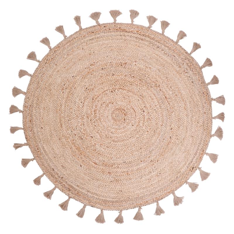 Teppich Jute 'Else' rund mit Quasten ca. 140cm