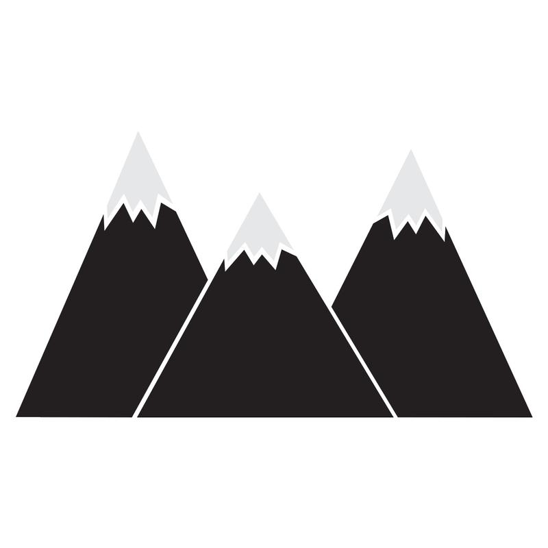 XL-Wandsticker 'Berge' schwarz mit Kreidetafel