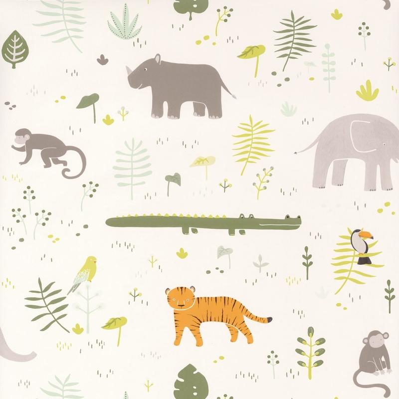 Tapete 'Happy Dreams' Tiere grün/grau