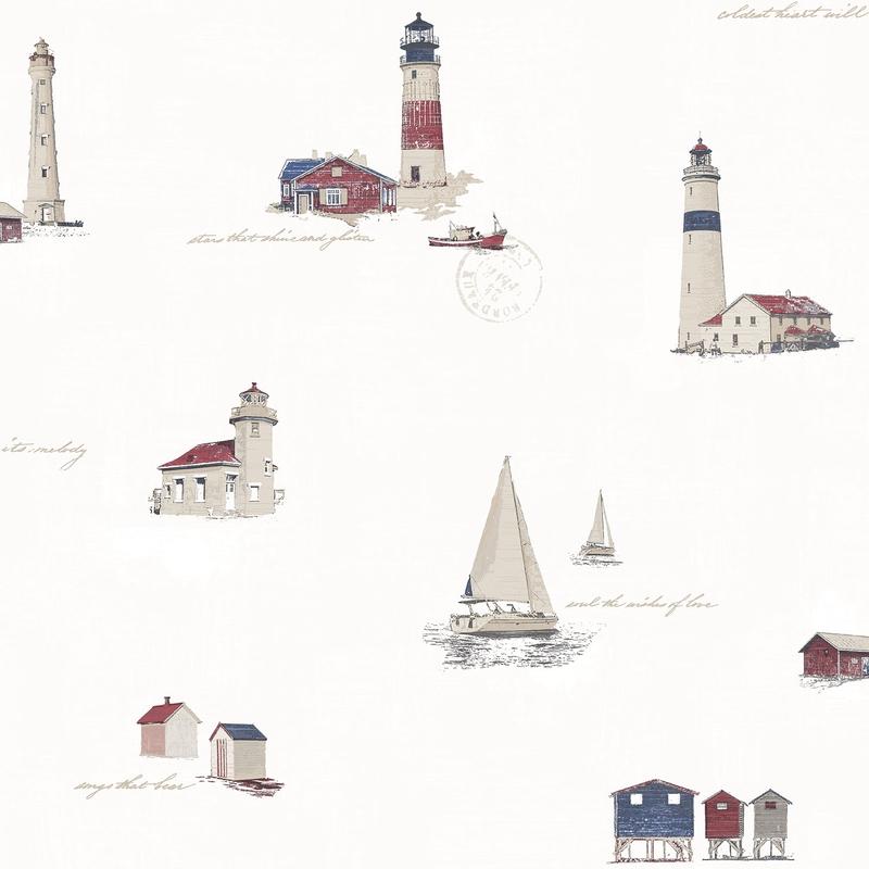 Vliestapete Leuchtturm' weiß/rot/blau