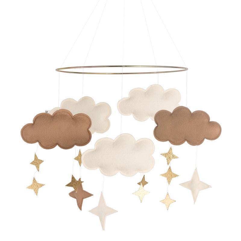 Mobile 'Wolken' Filz beige/gold