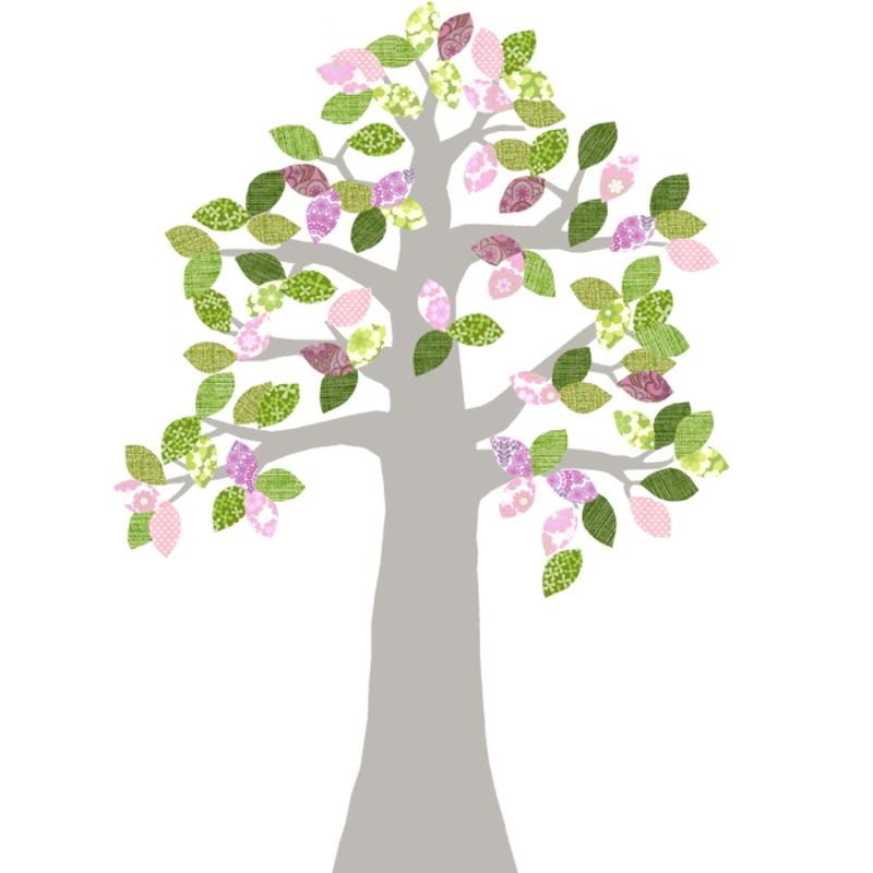 Tapetenbaum silber/rosa/grün 230cm