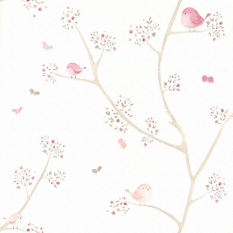 Stoff 'My Little World' Vögelchen rosa/beige