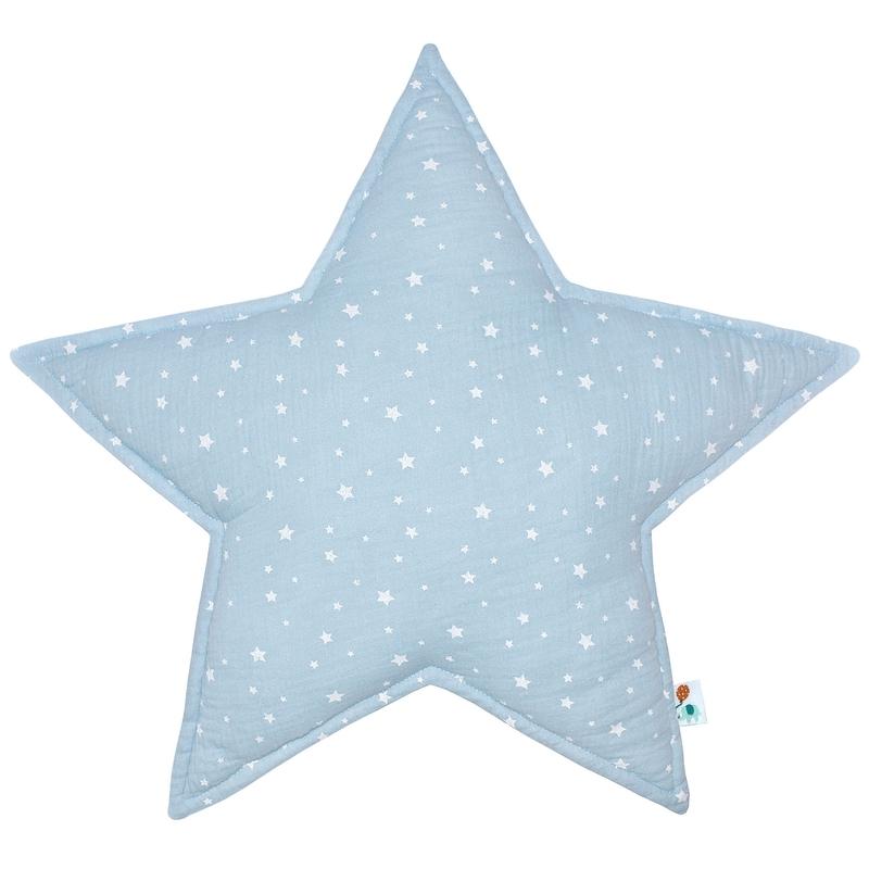 Kissen 'Stern' Musselin pastellblau 50cm