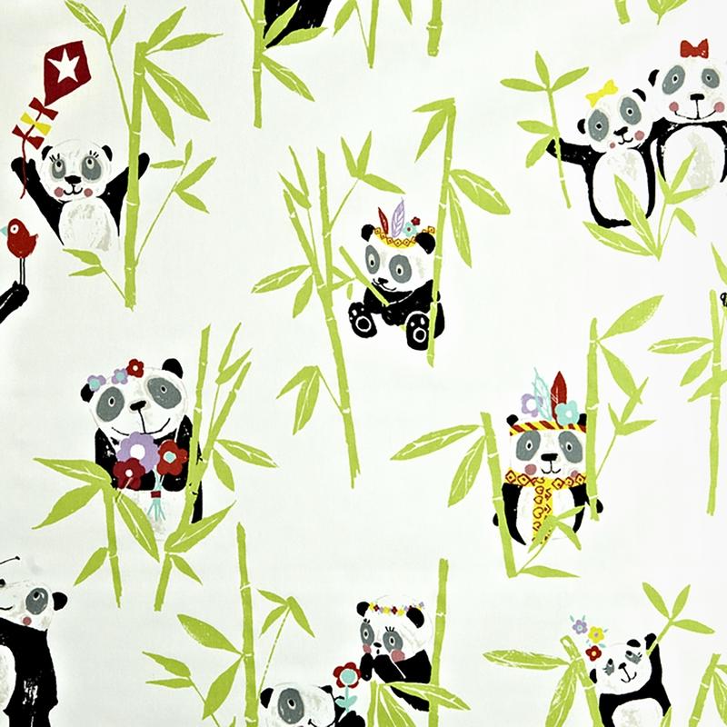Kinderzimmer Stoff 'Pandabären' creme/grün