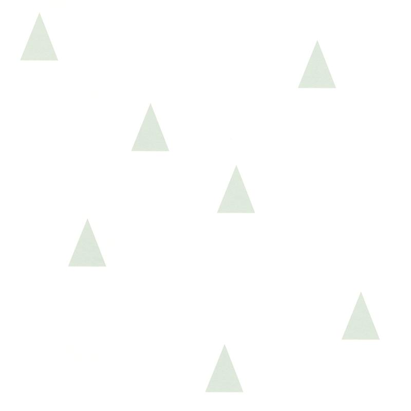 Vliestapete 'Kleine Dreiecke' weiß/softmint
