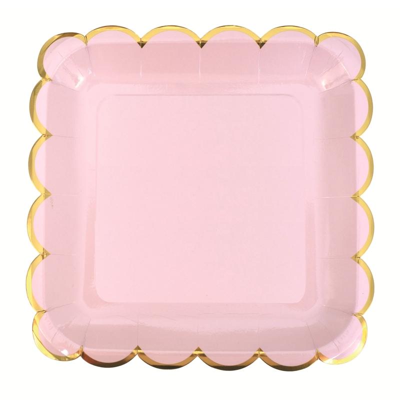 8er Set Party Pappteller rosa/gold 22x22cm