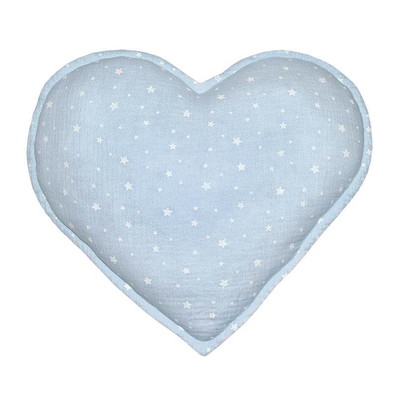 Kissen 'Herz' Musselin pastellblau 35cm