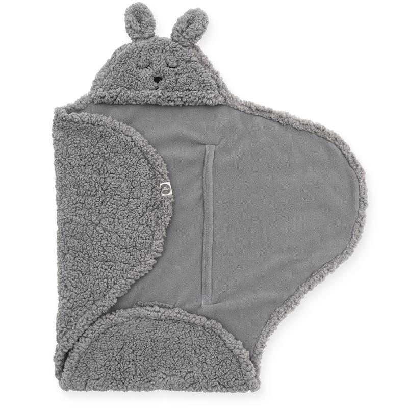Wickeldecke mit Kapuze 'Bunny' Teddy grau