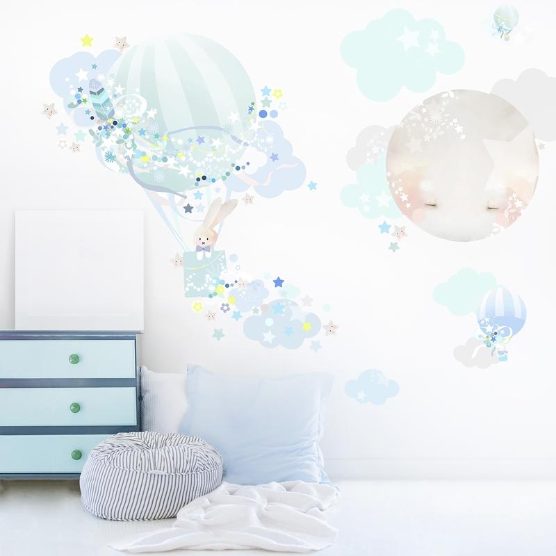 Stoff-Wandsticker 'Heißluftballon & Mond' mint