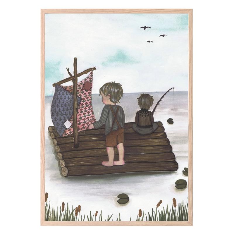 Kinderzimmer Poster 'Segelfloß' braun