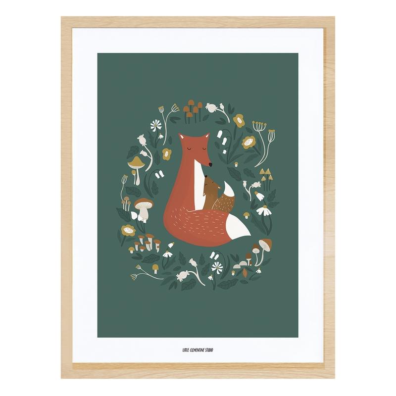 Bild 'Fuchs im Wald' grün/rost 30x40cm