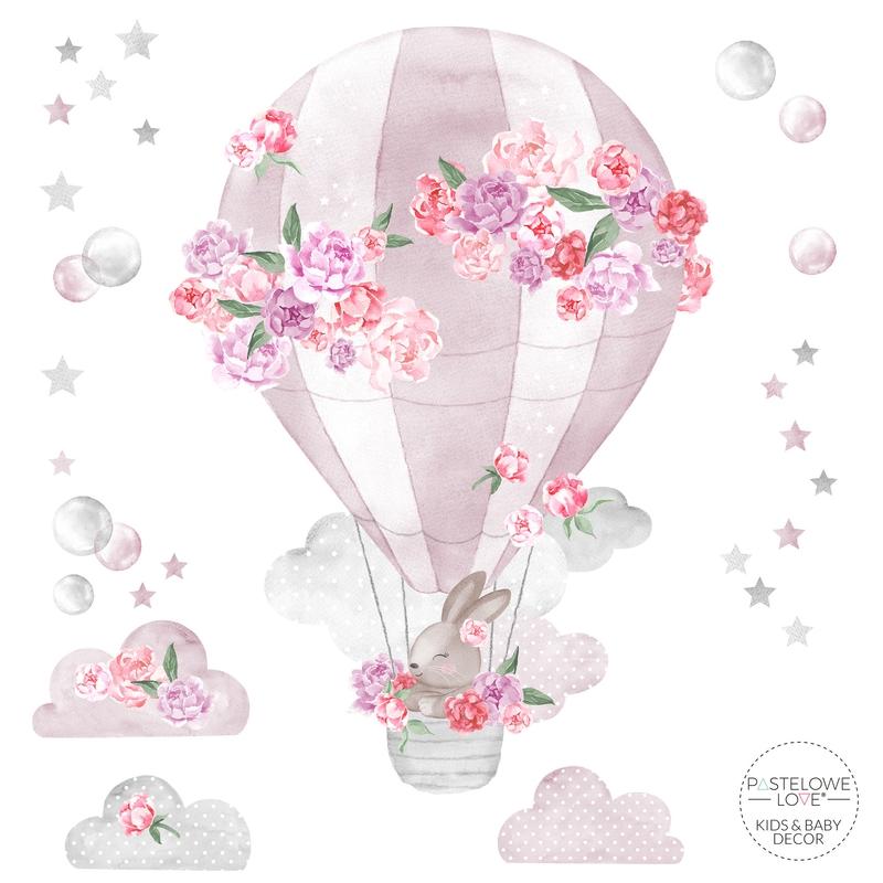 Wandsticker 'Heißluftballon' rosa 73cm