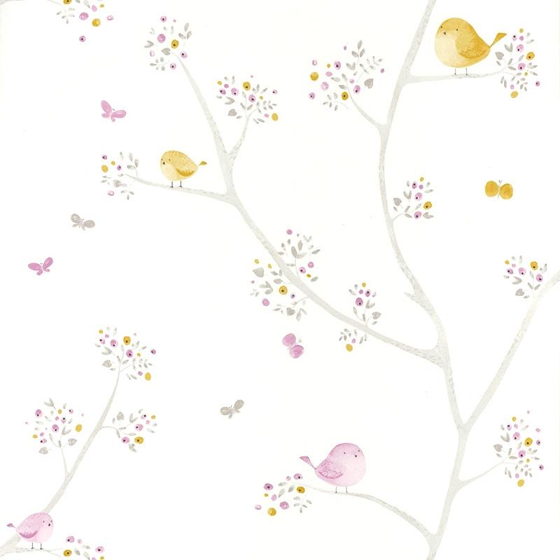 Tapete 'My Little World' Vögelchen senf/flieder