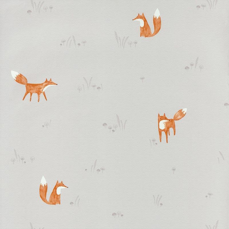 Stoff 'My Little World' Fuchs hellgrau/rost