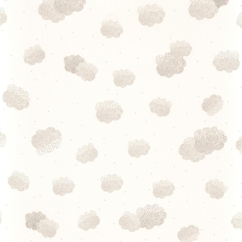 Stoff Wolken weiß/silber transparent H 296cm