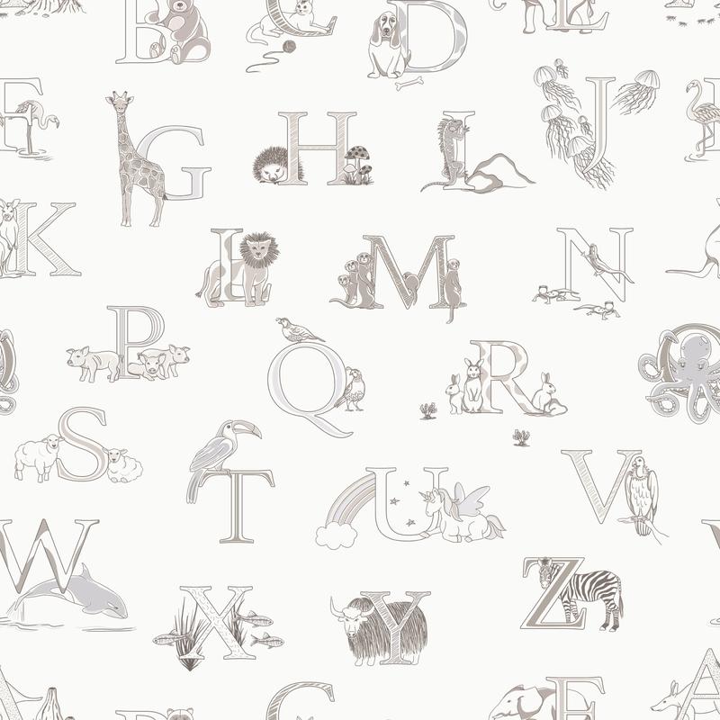 Vliestapete 'Alphabet' weiß/hellgrau
