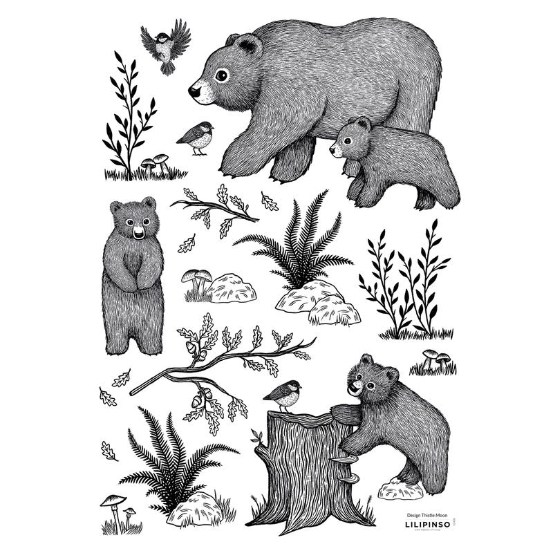 Wandsticker Bären 'Romanian Hills' schwarz