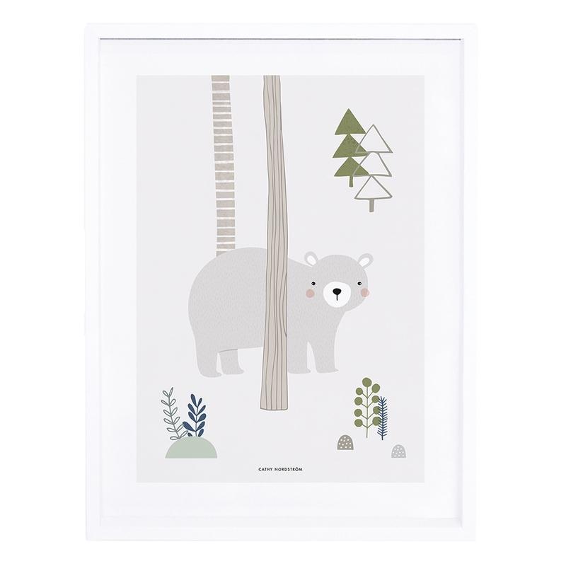 Bild 'Bär' beige/grün 30x40cm