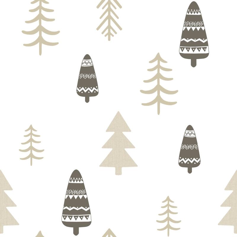 Vliestapete 'Bäume' beige/anthrazit