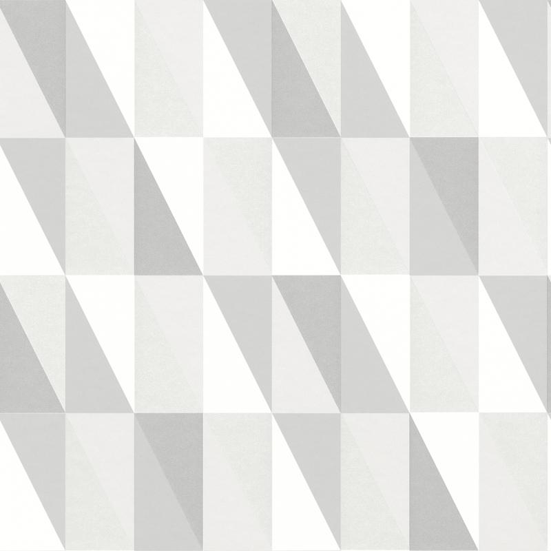 Vliestapete 'Dreiecke' silber/perlmutt