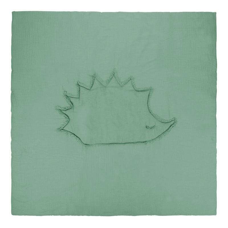 Krabbeldecke 'Igel' Musselin grün 120x120cm