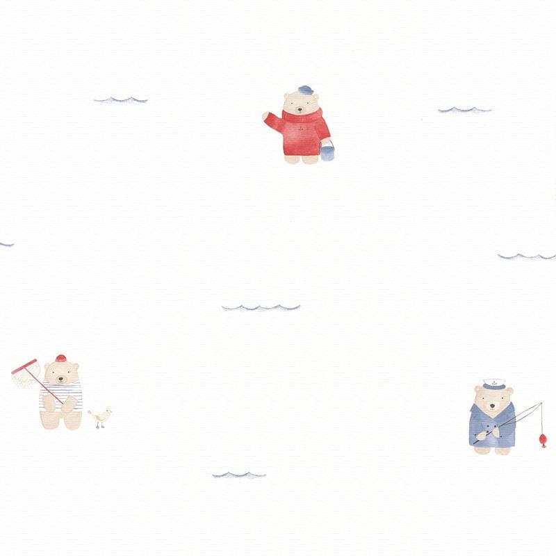 Stoff 'My Little World' Strandbären blau/rot
