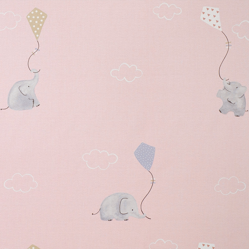 Stoff 'My Little World' Elefanten rosa/beige