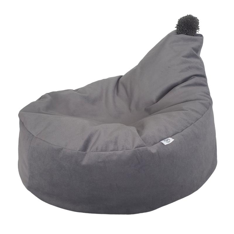 Sitzsack Velvet mit Wollpompon grau ca. 55cm