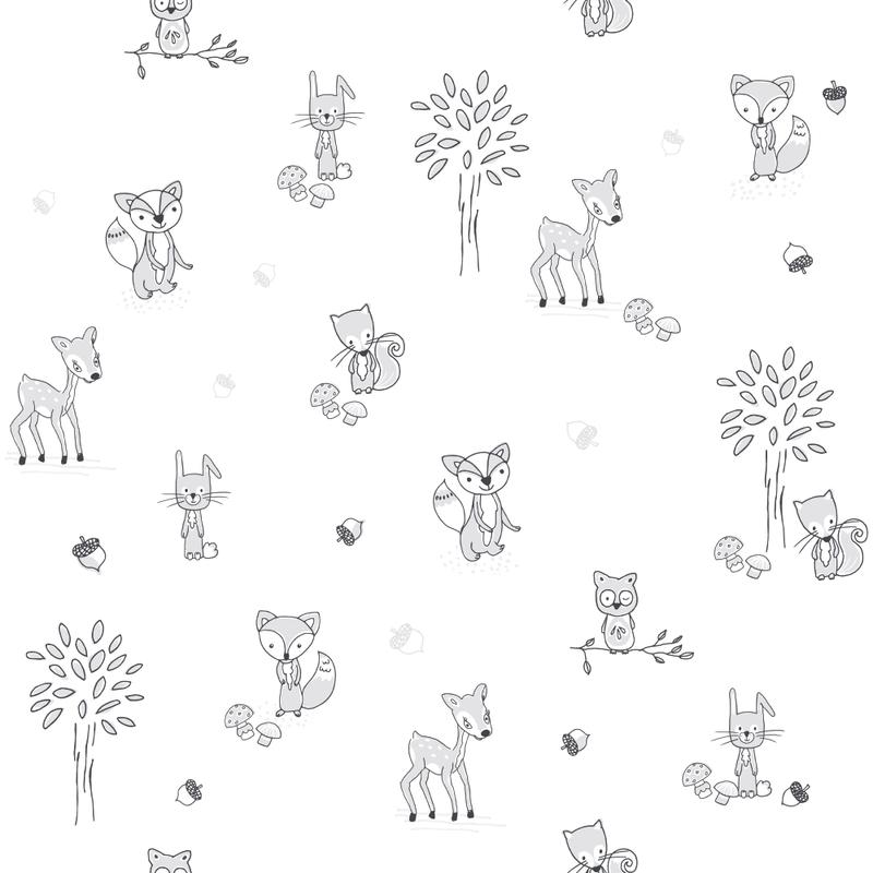 Kindertapete 'Waldtiere' weiß/grau