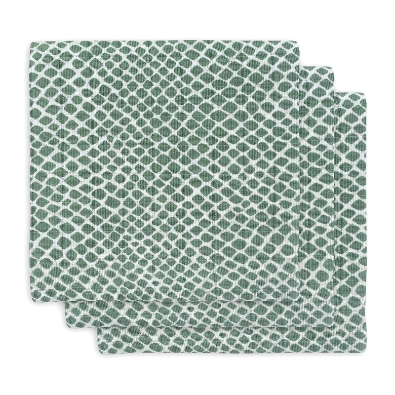 Mulltücher 'Kacheln' grün 3er Set 70x70cm