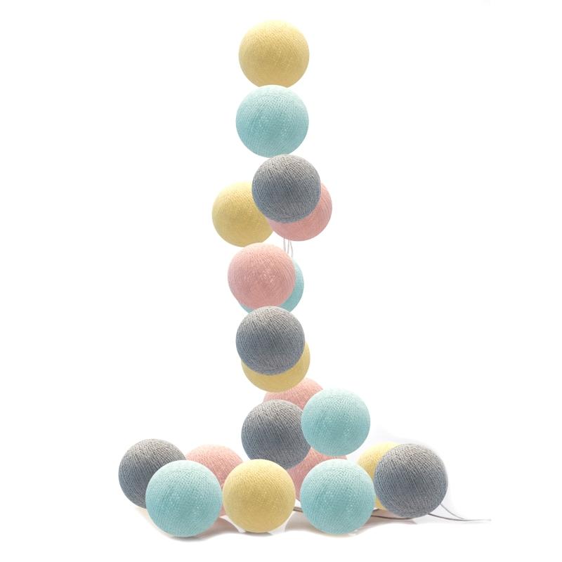Lichterkette Cotton Balls LED pastell