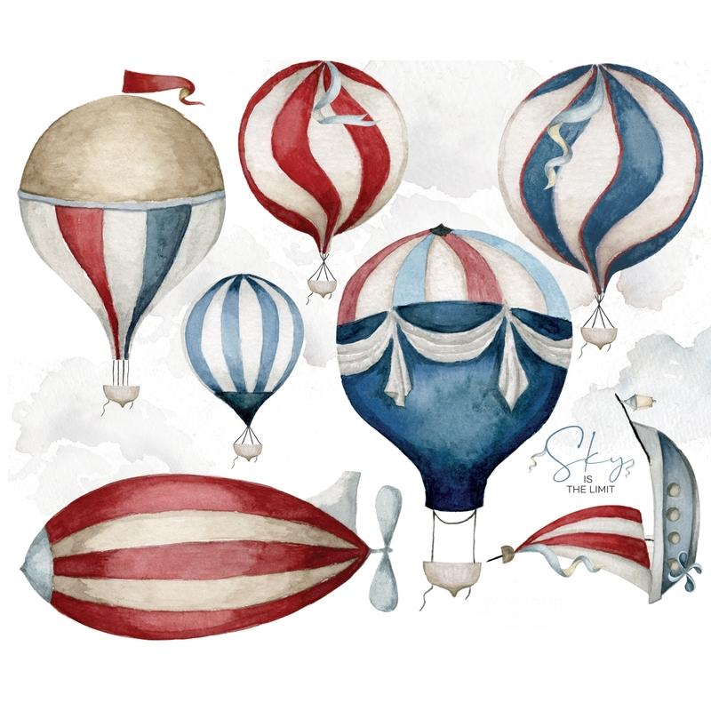 XL-Wandsticker 'Heißluftballons' blau/rot
