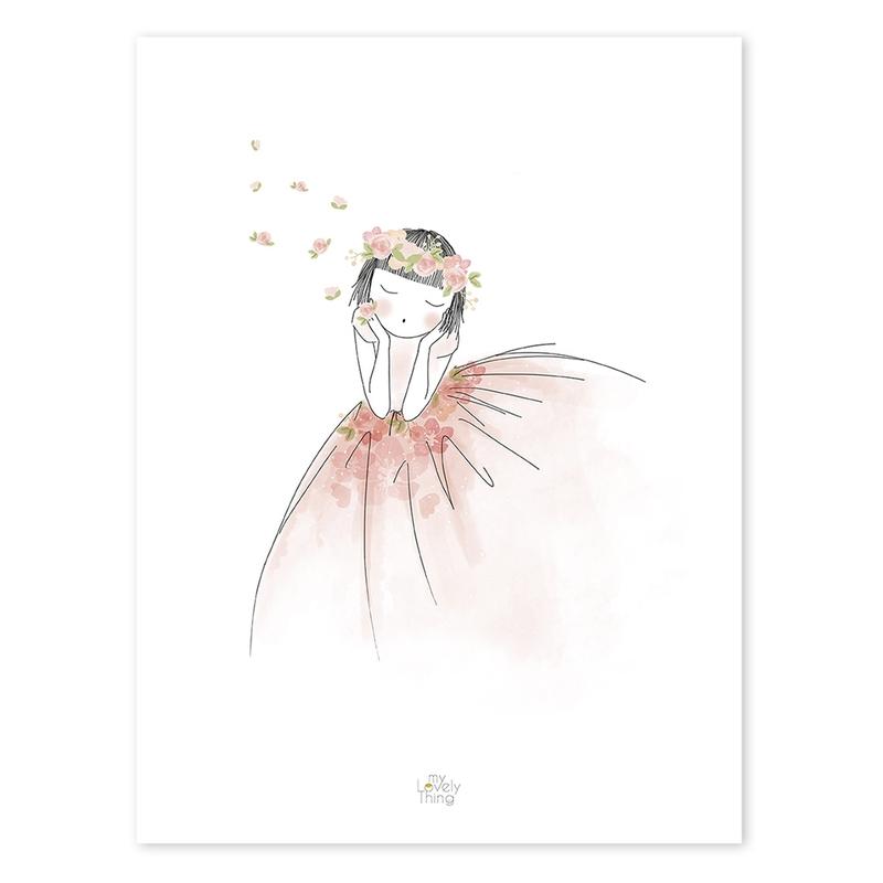 Poster 'Blumenmädchen' rosa 30x40cm