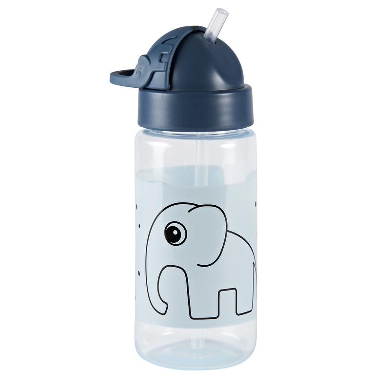 Trinkflasche mit Strohhalm 'Elphee Elefant' blau