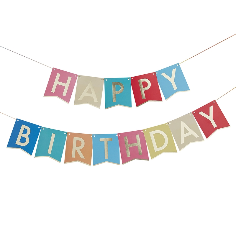 Girlande 'Regenbogen' Happy Birthday 340cm