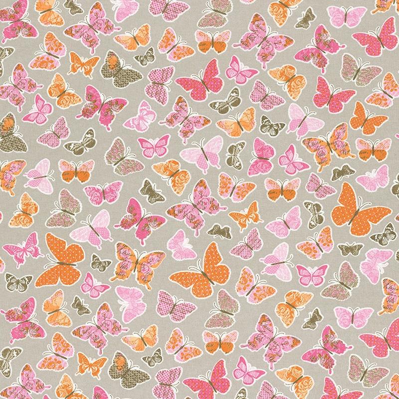 Stoff 'Schmetterlinge' rosa/orange 'Pretty Lili'