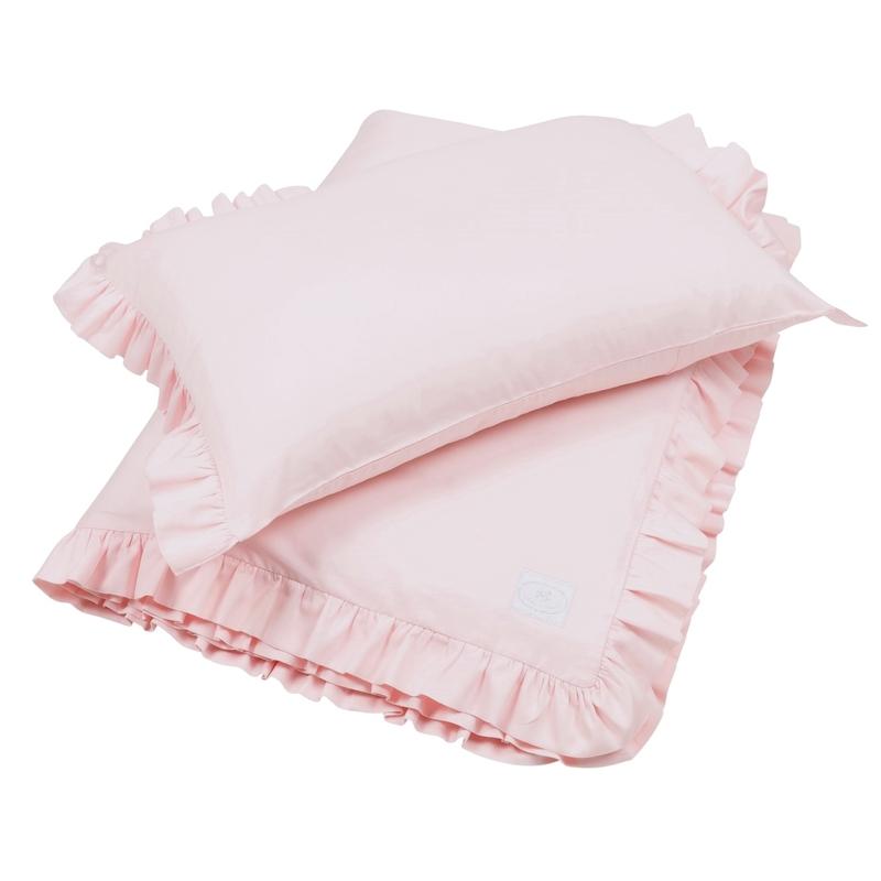 Bettwäsche mit Rüschen blassrosa 100x135cm