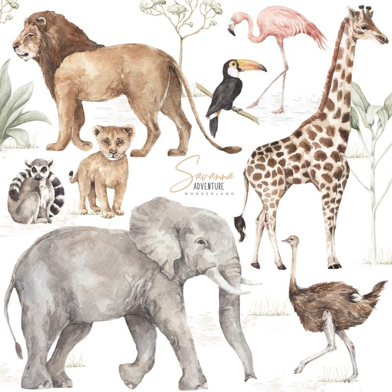 XL-Wandsticker 'Safari' Wilde Tiere 8-tlg.
