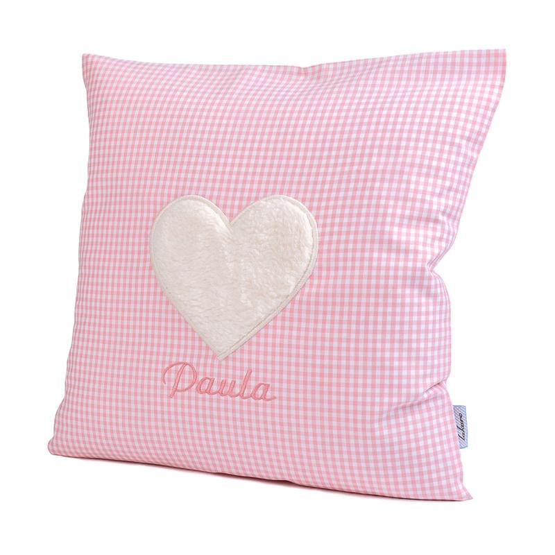 Kissen mit Namen & Herz Vichy rosa 35x35cm